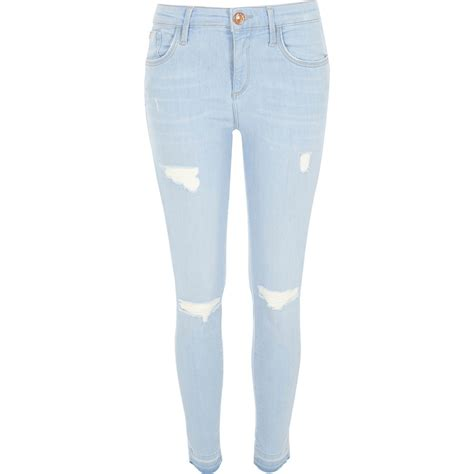river island light wash ripped amelie