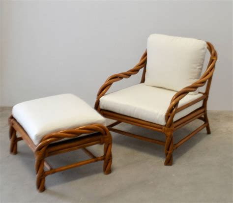 wicker chair and ottoman rattan club chair and ottoman at 1stdibs