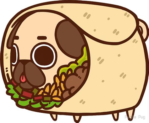 Cute Duvet Quot Puglie Burrito Quot Stickers By Puglie Pug Redbubble