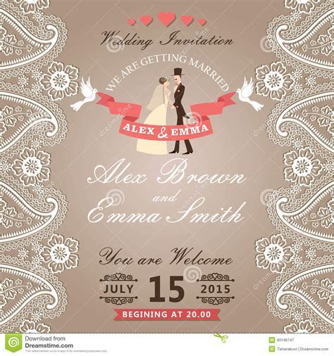 Vintage Wedding Invitation With Paisley Border Lace Groom Bride Stock Vector Image 40146747 Paisley Wedding Invitation Template
