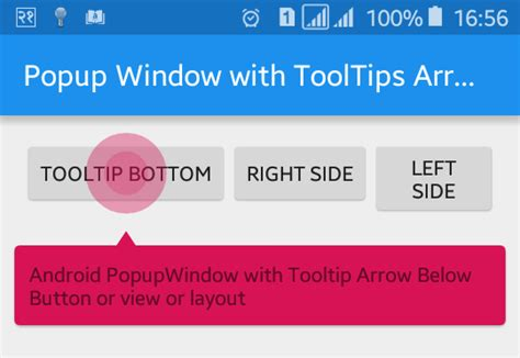 Android Tooltip by Popup Window With Tooltips Arrow In Android Viral