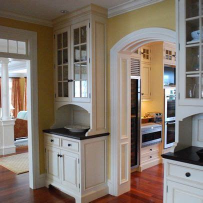 shallow depth upper glass cabinet over counter with lower