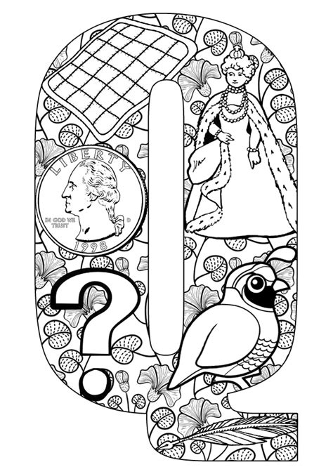 coloring pages that start with the letter q free things starting with q coloring pages