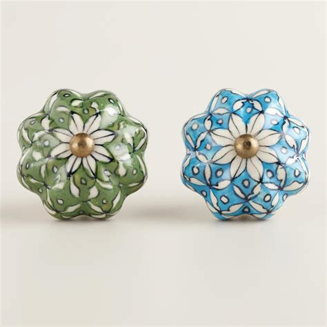 World Market Knobs by Turquoise And Green Ceramic Watermelon Knobs Set Of 2