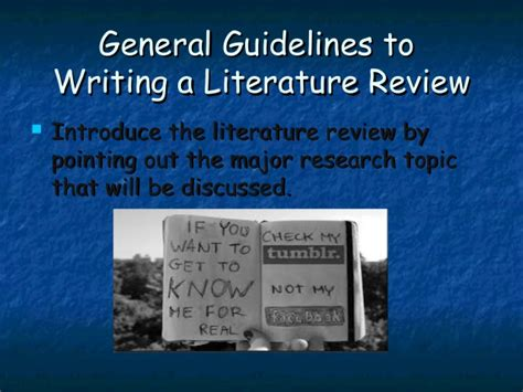 Research Literature Review Guidelines by Guidelines To Literature Review