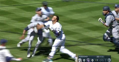 baseball benches clear total pro sports rockies nolan arenado charges the mound