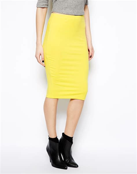 yellow pattern pencil skirt asos pencil skirt in jersey in yellow chartreuse lyst