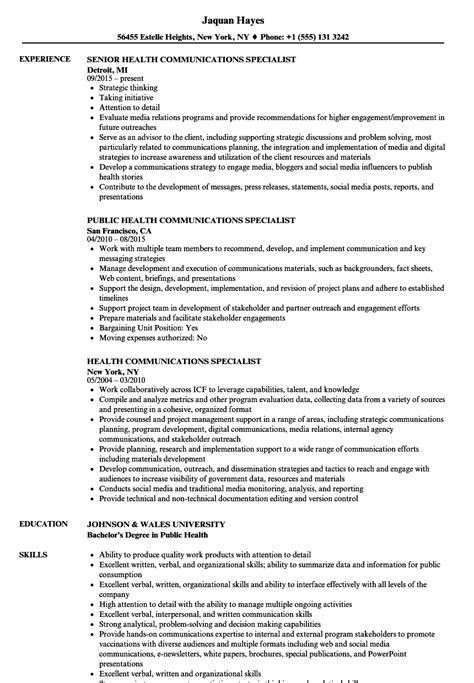 Health Communications Specialist Sle Resume by Community Outreach Specialist Sle Resume Sat Essay Prompts And Exles