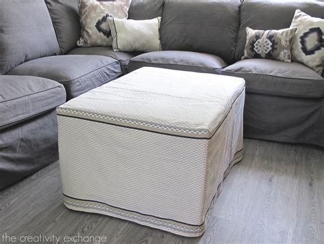 diy ottoman cover my dish towel ottoman slipcover office craft room update