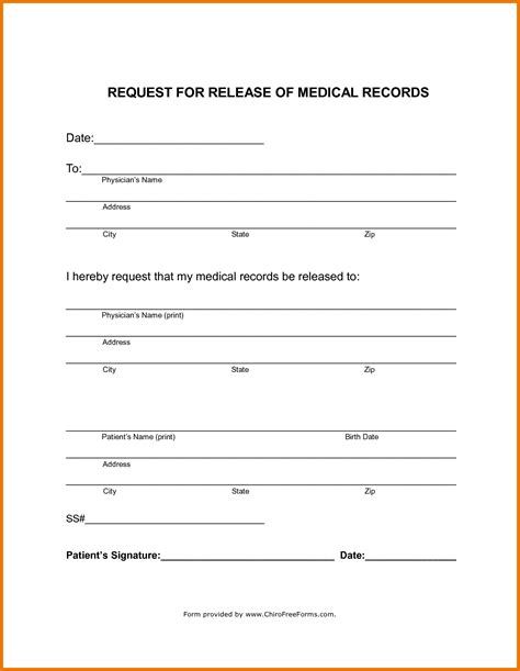 4 medical records release form template assistant cover