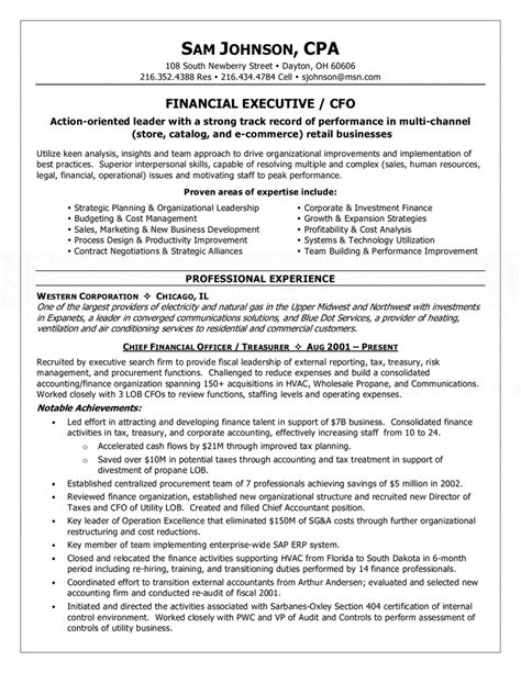 Executive Resume Sles Cfo Financial Executive Cfo Resume