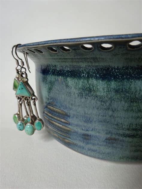 Handmade Jewelry Holder - blue green jewelry holder handmade ceramic jewelry