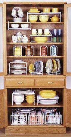 How To Organize A Kitchen With Limited Cabinet Space 40 Clever Storage Ideas For A Small Kitchen Bigdiyideas Plate Storage Small Kitchens