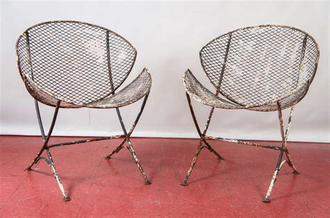 Outdoor Saucer Chair by Pair Of Mesh Metal Saucer Outdoor Chairs At 1stdibs