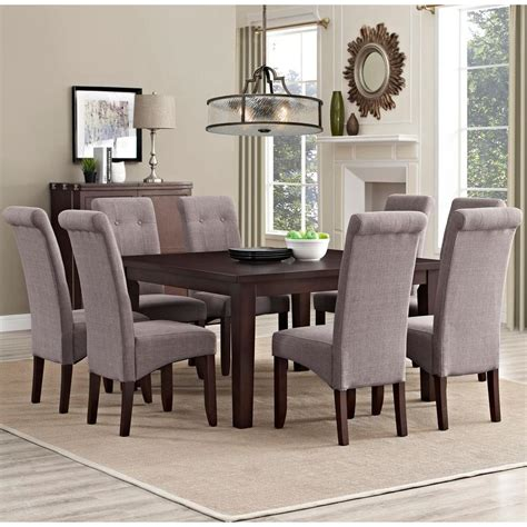 simpli home acadian 7 light mocha dining set simpli home cosmopolitan 9 light mocha dining set axcds9 cos lml the home depot