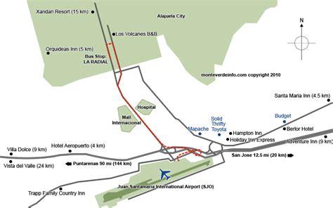 san jose airport map map of the airport of san jose costa rica