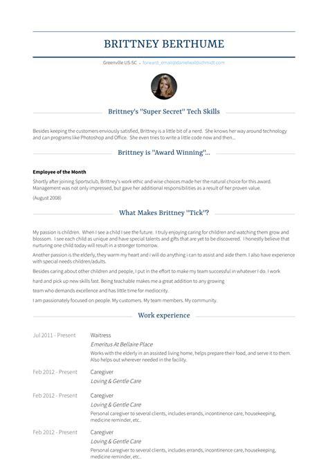 caregiver duties and responsibilities caregiver resume example