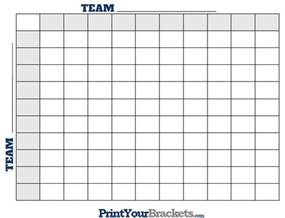 Bowl Football Office Pool Football Squares Printable Square Grid Template