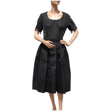 vintage beaded cocktail dress vintage 50s black silk faille cocktail dress beaded trim