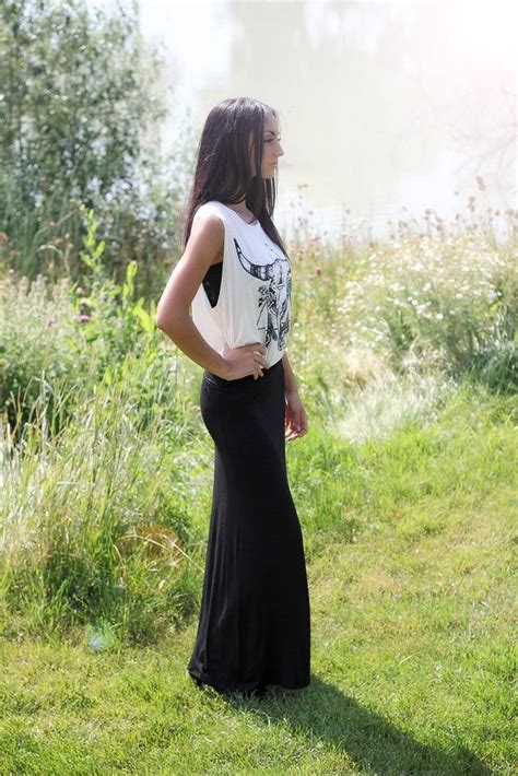 white tank top with black maxi dress or black maxi skirt