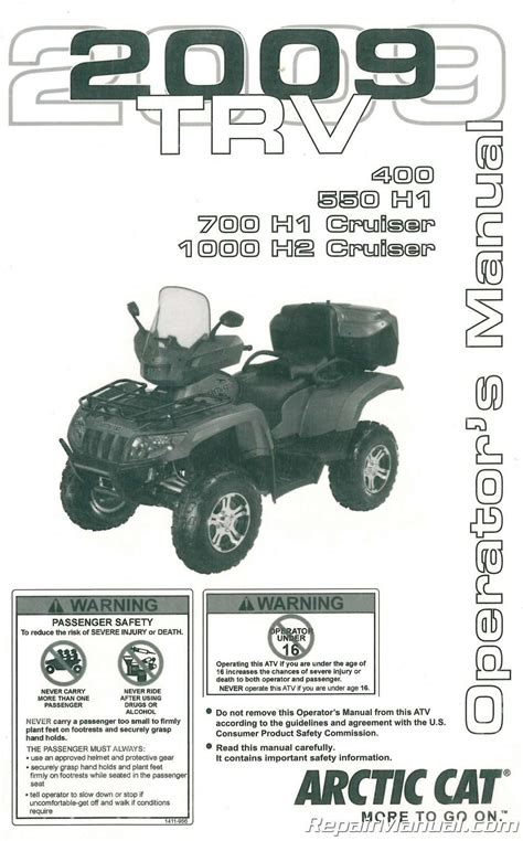2009 Arctic Cat Trv 400 550 700 950 Owners Manual