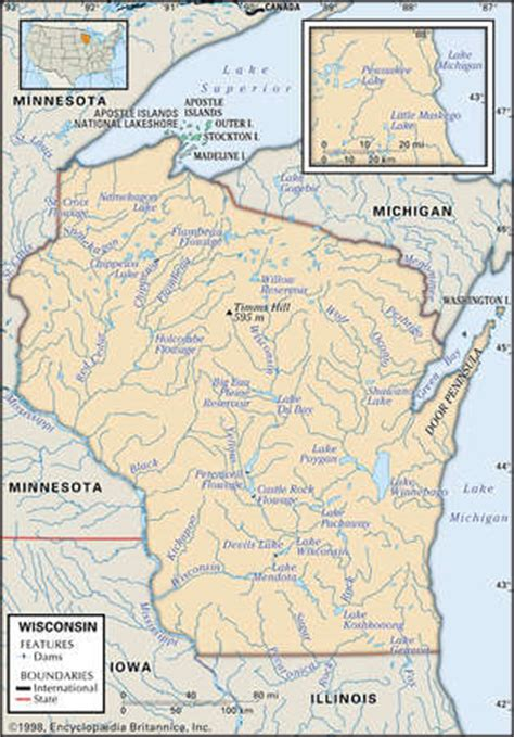 wisconsin lakes map stock illustration physical map of the state of