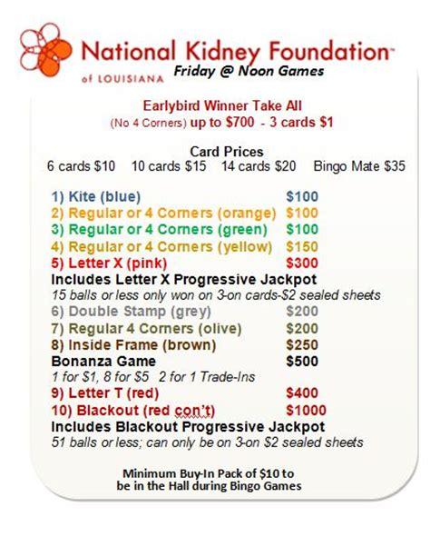 napoleon room bingo our bingo schedule for metairie