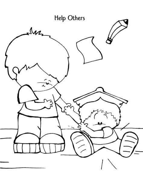 Helping Coloring Page for who help us coloring pages