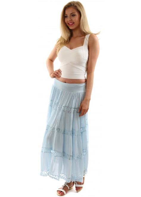 monton skirt blue silk maxi skirt with lace designer