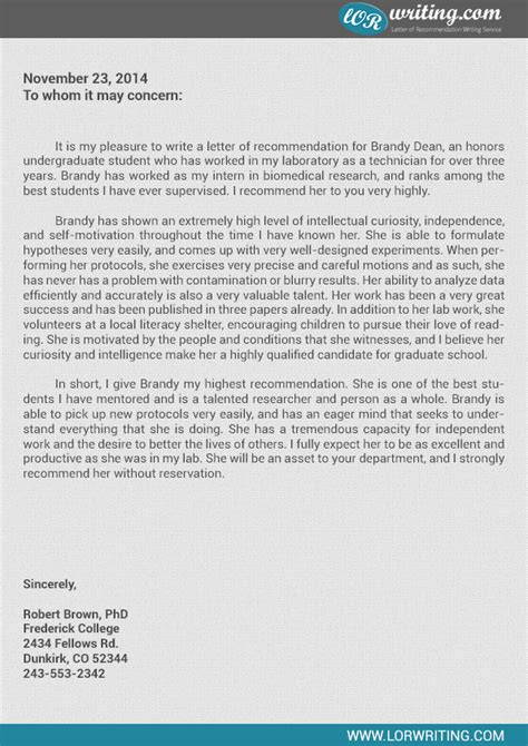 graduate school recommendation letter template professional sle letter of recommendation for graduate