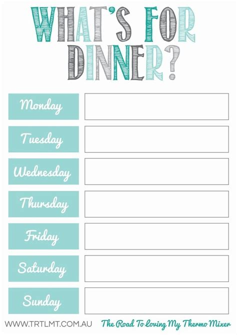 monthly food menu template weekly dinner meal planner template listmachinepro