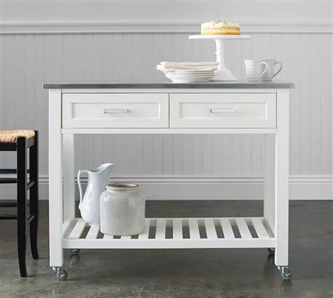 pb classic kitchen island cart large pottery barn