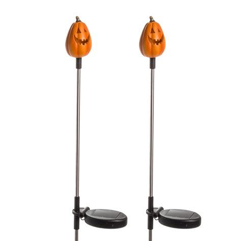 garden stake lights 2 pack solar pumpkin outdoor garden o lantern stake light ebay