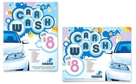 car wash poster template word publisher