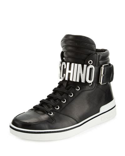 Lettering Lace Up Sneakers moschino leather high top sneaker w logo lettering