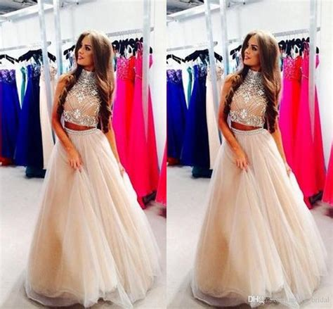 Hq 16696 Hollow Shoulder Dress chagne high collar two pieces evening dresses 2016