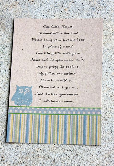 baby shower invitations bring book poem 20 kraft blue shower book insert cards owl themed baby shower book poems favorite children s