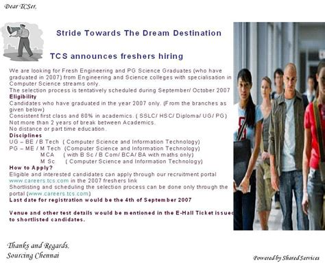 Mba Fresher In Tcs Chennai by Freshers Tcs Cus For Freshers Procedure To