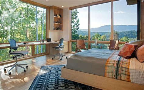 define bedroom minimalist silhouette and walls of glass define piedmont