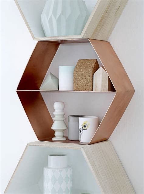Etagere Wood Lamp Danish Copper Hexagonal Shelf By The Forest Amp Co