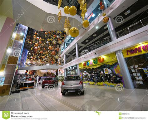 mall with cars new year christmas decorations editorial