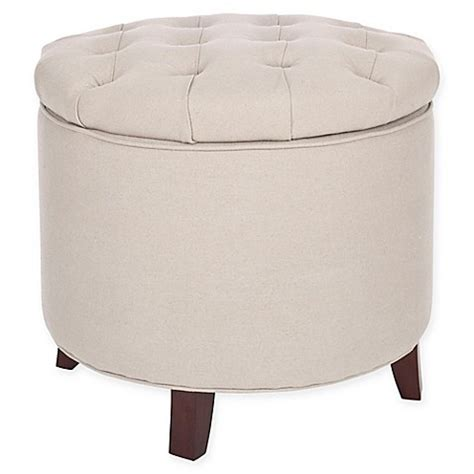 Buy Safavieh Amelia Storage Ottoman In Beige From Bed Bath Safavieh Amelia Tufted Storage Ottoman