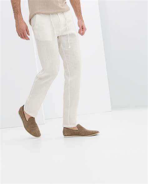 Zara Drawsting Original zara drawstring linen trousers in white for lyst