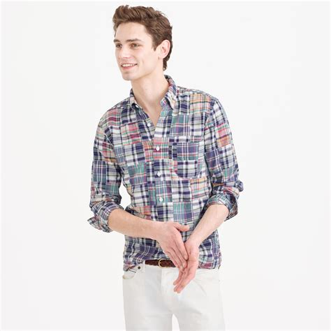 Patchwork Madras Shirt - j crew slim indian madras shirt in patchwork for lyst