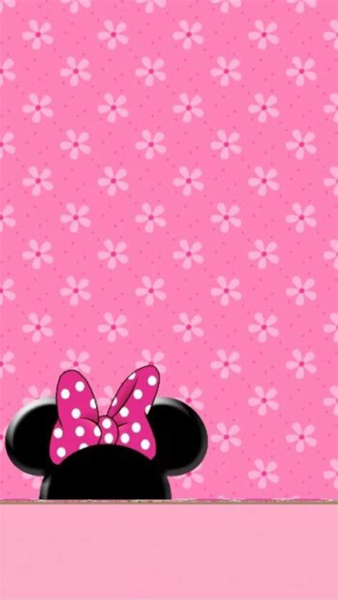 wallpaper minnie pink minnie pink flowers wallpaper papel de parede imagem