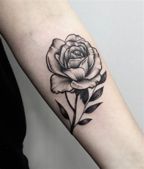 rose dotwork tattoo dotwork on left forearm