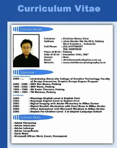 Curriculum Vitae Format Doc File Indonesia Contoh Z December 2016