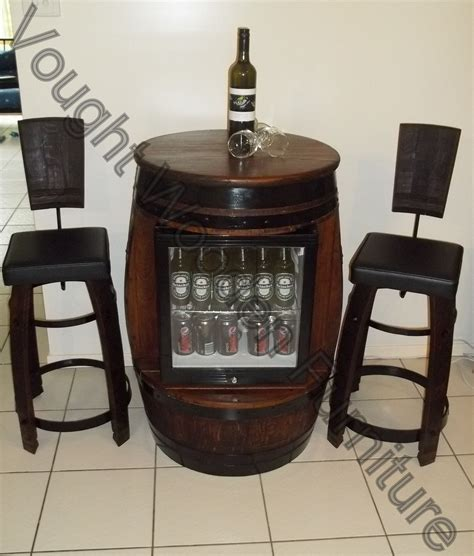 Mini Bar Table With Stools by Wine Barrel Bar Table With A Built In Glass Door Bar