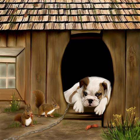 dog in dog house in the dog house digital art by thanh thuy nguyen