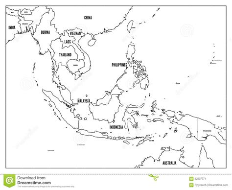 asia map with country names black and white south east asia political map black outline on white